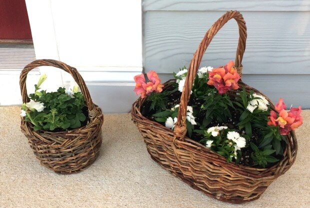 The 2 smaller baskets by the front door.