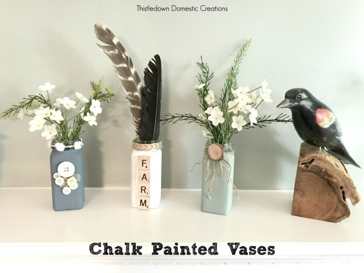 Chalk painted vases