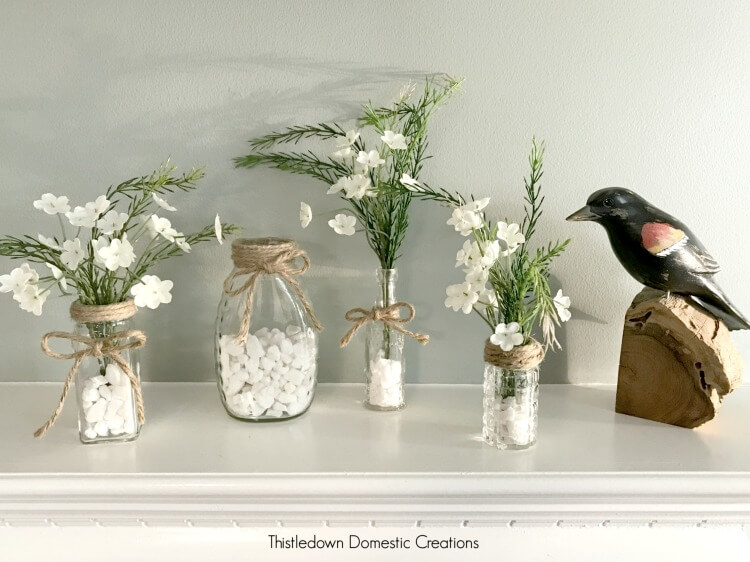 vases with artificial flowers