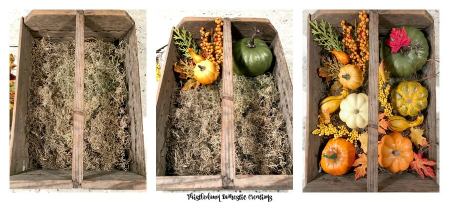 How to add fall decor to the berry crate.