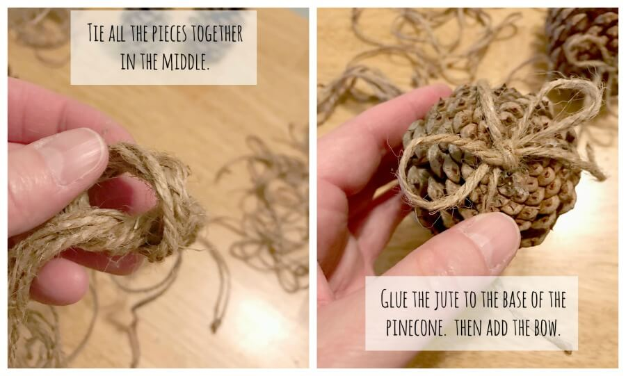 Gluing the easy pinecone craft