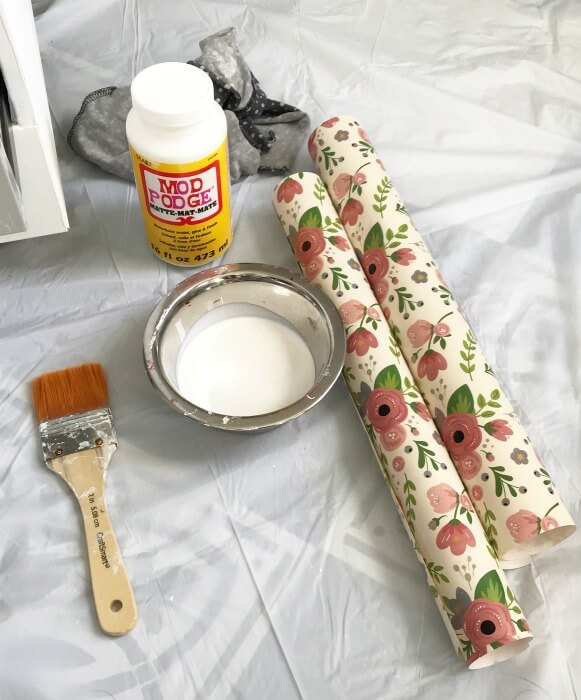 decoupage supplies for the file cabinet
