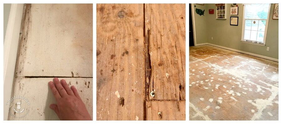 cracks and patches on the subfloor