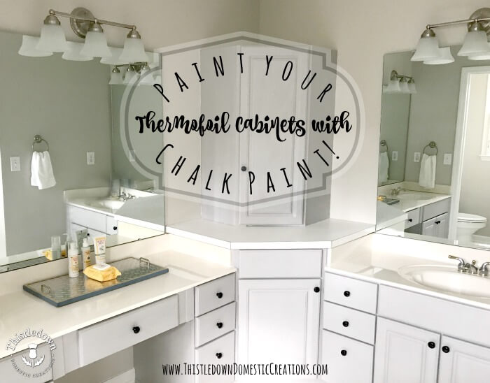 Paint your thermofoil cabinets with chalk paint.